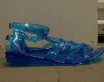 Sparkly Blue Jelly Sandals