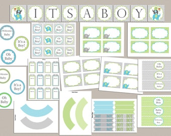 Baby Shower Decorations Boy Baby Shower Party Pack Baby Shower Party Package Printable Elephant Baby Shower Package Baby Shower Decor (87g)