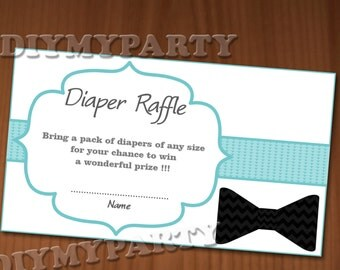 Baby Shower Diaper Raffle Ticket Diaper Raffle Cards Diapers Raffles Baby Shower Games Printable Little Man printable party decor blue