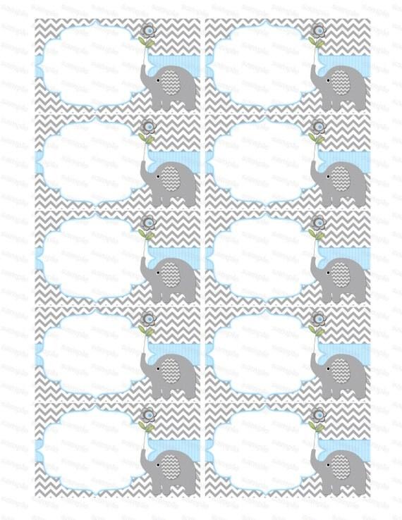 Blank insert for boy baby shower invitation thank you notes - Fotos de elefantes bebes ...