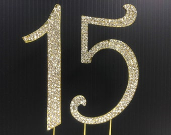Rhinestone Gold  NUMBER (15) Cake Topper 15th for Birthday Parties FREE SHIPPING