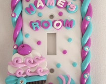 Custom Light Switch Cover - Cupcake Decor - Little Girl Wall Art - Girl's Birthday Gift - Polymer Clay Cupcake  - Cupcake Art - Kids Decor