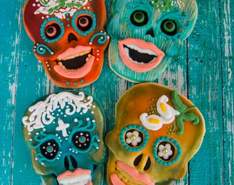 One dozen personalized Day of the Dead cookies