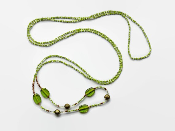 Long lime green wrap necklace, green seed bead necklace, layering necklace, stack necklace