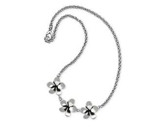Sterling Silver Plumeria Flower Ankle Bracelet Jewelry PLM1-A