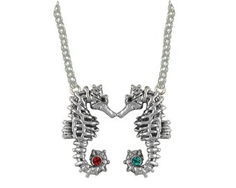 Solid Sterling Silver Double Seahorse Necklace Pendant With Birthstone SE3D-P