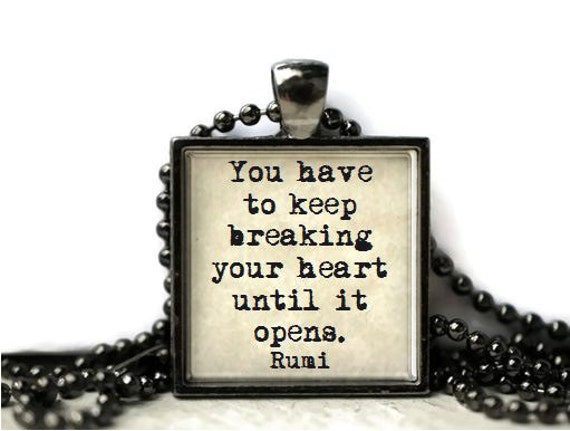 Rumi healing quote broken heart quote resin necklace or keychain word ...