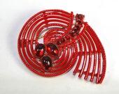 Red Rhinestone Brooch Red Enamel MCM Brooch Snail Brooch Snail Jewelry Spiral Jewelry Red Brooch Red Broach Enamel Brooch Enamel Jewelry