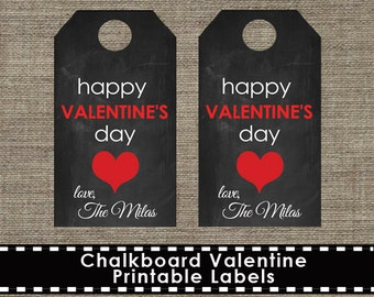 Chalkboard Valentine Label Tags - Printable - DIY
