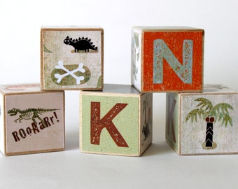 Dinosaur Themed Custom Wood Name Blocks