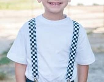 Black and white checkered suspenders. Newborn - 10 yrs old