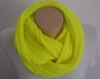 SALE,Knit chunky infinity scarf,Neon yellow knitted scarf , neon chunky knit scarf , neon scarf , knit scarf , knitted infinity scarf