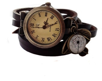 "Wrap Watch, Bracelet Watch, Wrist Watch, Vintage Watch ""Dandelion II"" Leather Bracelet: dark brown"