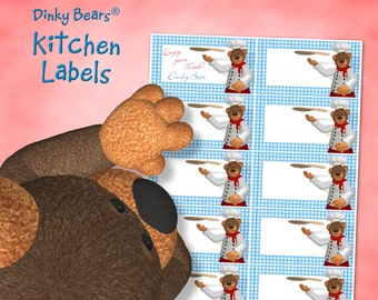 Dinky Bears - Pizza Kitchen Labels - Digital Download