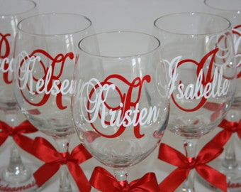 6 Personalized Wine Glasses