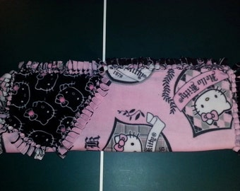 Pink, Black, Gray and White Hello Kitty Fleece Blanket