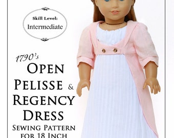 Pixie Faire Thimbles and Acorns 1790 Open Pelisse and Regency Dress Doll Clothes Pattern for 18 inch American Girl Dolls - PDF