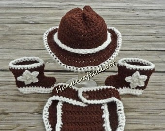 Crochet Newborn Baby Cowboy Hat Boots Outfit Photo Prop Set Diaper Cover 0-3, 3-6 Month Shower Gift Keepsake
