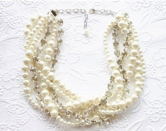 Chunky Pearl and Rhinestone Necklace, Pearl Rhinestone Statement Necklace, Bridal Pearl Necklace, Chunky Pearl Necklace