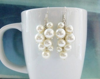 Pearl Cluster Earrings, Bridal, Bridesmaids Cluster Earrings