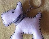White Felt Scotty Dog Keyrings x 50