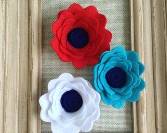 Felt Poppies - Set of Three - Choose your colors