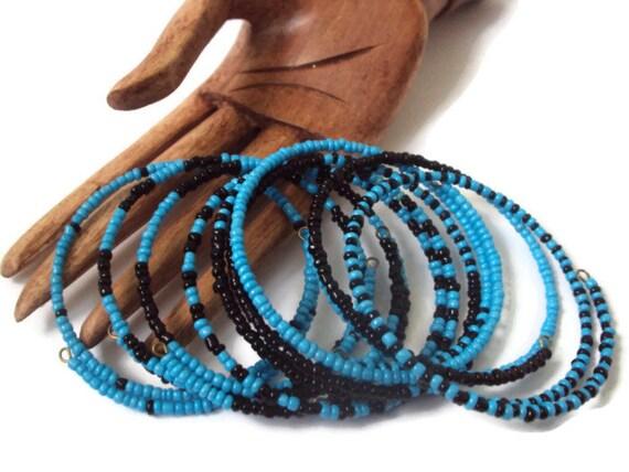 Eco Friendly Bracelets Set Of 8 Blue & Black