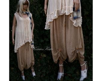 Bohemian Bloomers Lagenlook Plus Size Hand Dyed Linen Gauze Wide Leg Pants OOAK