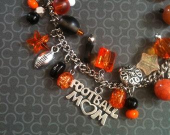 Football Mom Bracelet.  Black and Orange.
