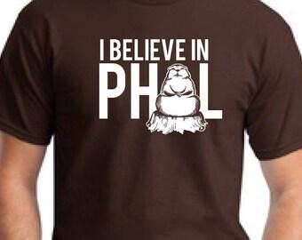 "2xl Shirt Punxsutawney Phil ""I Believe in Phil"" Red Brown  Teal Groundhog day"
