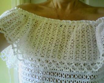 Off the Shoulder Crocheted Lace Gypsy Top