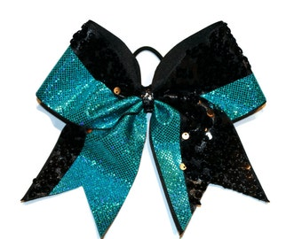 Cheer Bow teal and black sequins