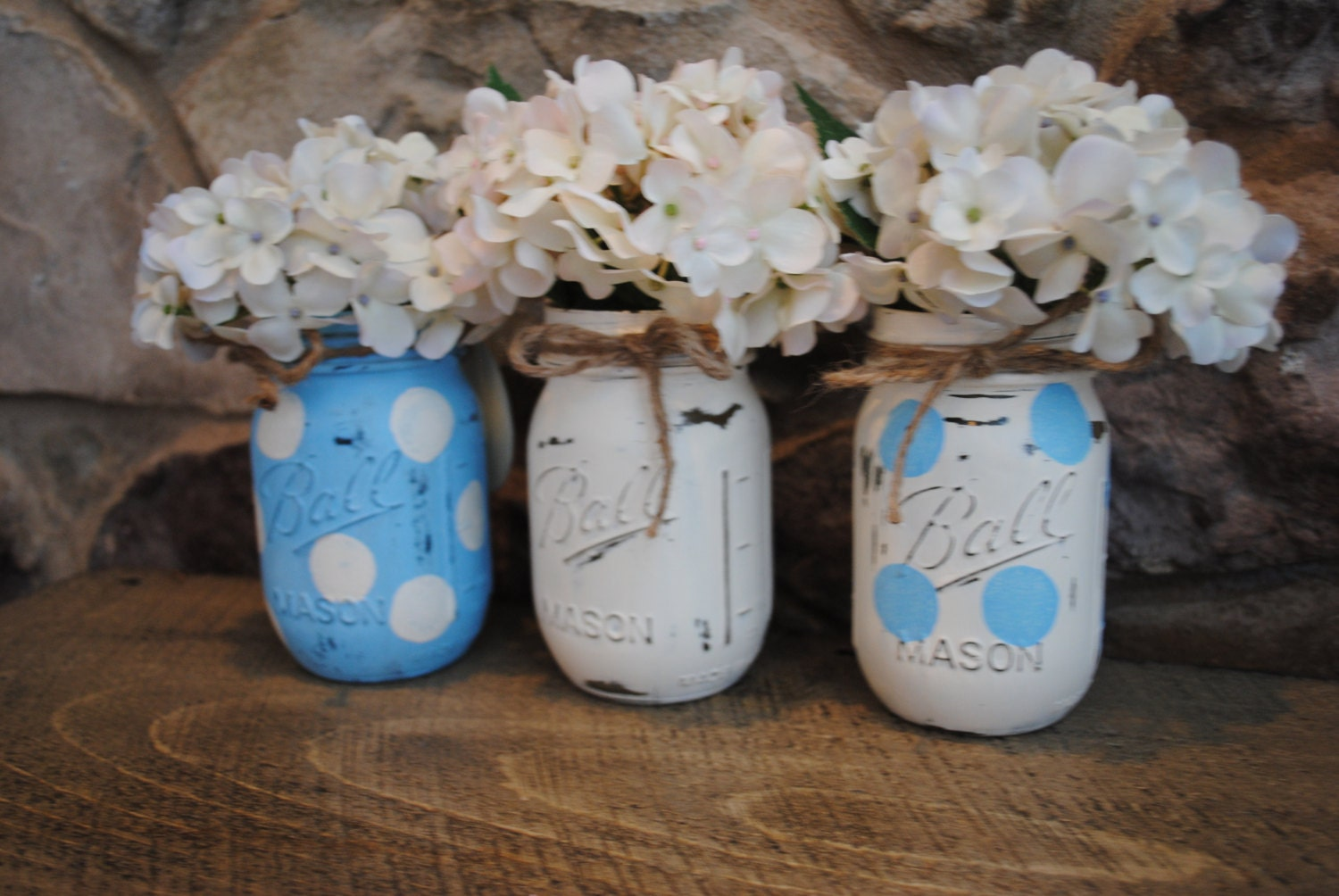 painted mason jars baby shower centerpieces shabby chic