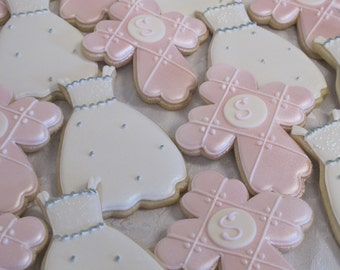 First Communion Cookies, Religious, Christening Cookies, Baptism, Holy Communion Cookies, Baptism Gown, Party Favors, Custom Cookies