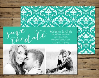 Teal Damask Save the Date Card Front and Back - Custom Photo Engagement Announcement - Printable