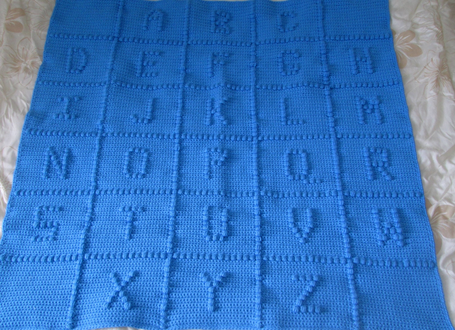 Crocheting Letters On A Blanket : Blue ABC Baby Blanket Alphabet Blanket Afghan by MamasHookin
