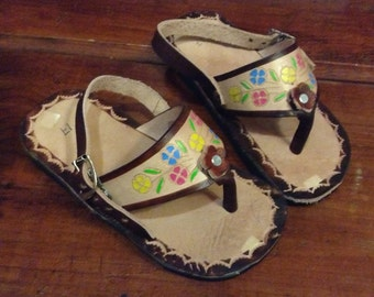 Baby/ Toddler Leather Mexican Shoes- Flip Flops-Sandals-Hippie-BOHO- Handmade Sandals- Flowers- Brown