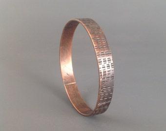 Handmade copper stamped textured bracelet bangle 3