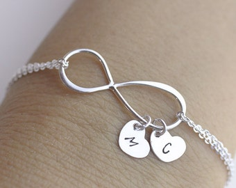 Personalized Infinity Bracelet .initials large infinity bracelet.  two heart Jewelry. Mom,Sister,Wife,Bridesmaid Gift.