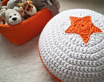 Orange Crochet Pouf - Crochet Floor Cushions - Ottoman Pouf Footstool - Kids Floor Cushion - Spring Collection