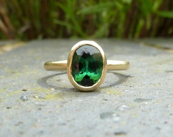 Green tourmaline ring, green gemstone engagement ring