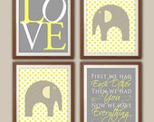 Elephant Nursery Art - Gray And Yellow Nursery - Baby Elephant Nursery - Nursery Quote - Love Quote - Set Of 4 Nursery Art Prints