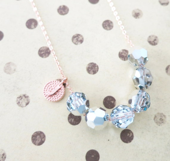 Personalised Swarovski Crystal Beads necklace - custom letter initial friendship necklace, rose gold, dainty, simple everyday jewelry