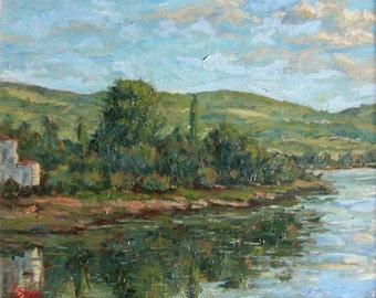 Original Painting landscape, impressionist, villa, Italy, Tuscany, blue, green, trees, lake reflection, nature, mountains, Sessa