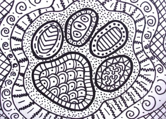 OOAK Pawprint Zentangle ACEO Hund Pfote Zeichnung Von PeachPod