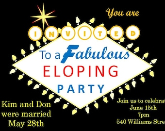Eloping party invitations- Las Vegas sign- 1970