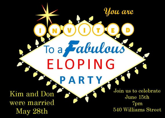 Elopement Wedding Invitations: Eloping Party Invitations Las Vegas Sign 1970