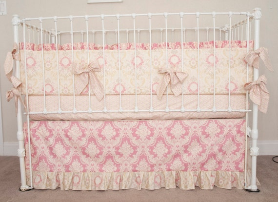 Vintage Floral Rose Pink and Ivory Baby Girl by