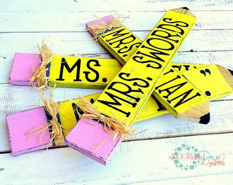 Personalized Teacher Name Plate, Wooden Pencil Sign