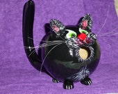 Kitty Black Cat Gourd Birdhouse or Halloween Decor Spooky Sweet Hand Painted Purfect - Original Designs by Sugarbear